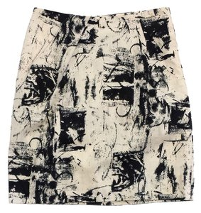 Marni Cream Black Print Cotton Skirt