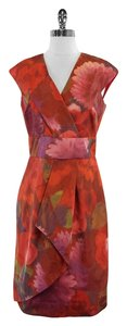 Lela Rose Multi Color Floral Print Silk Dress