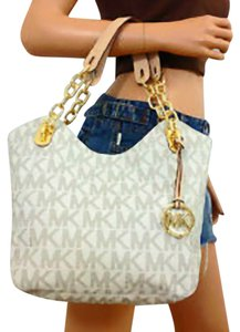 2048dc8f92e5 Michael Kors Lilly Large Pvc Leather Gold Hardware Hanging Mk Gold Charm  Medallion Dual Leather Beige