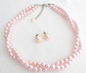 Fashion Jewelry For Everyone Pink Pearl Necklace Stud Earrings Bridesmaid Twisted Necklace Stud Earrings Jewelry Set