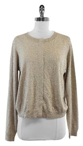 Max Mara Taupe Sequin Silk Wool Cardigan