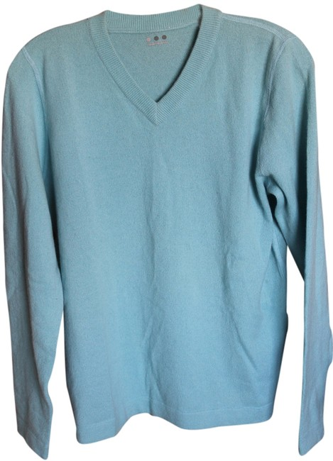Three Dots Cashmere V-neck Aqua Sweater