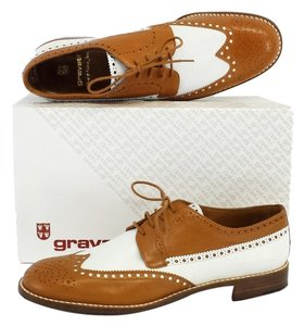 Gravati Brown White Leather Oxfords Flats