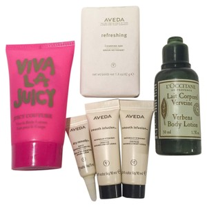 Juicy Couture LOT Juicy Coture Viva La Juicy Aveda L'occitane toiletries body lotion cleansing bar moisturizing oil