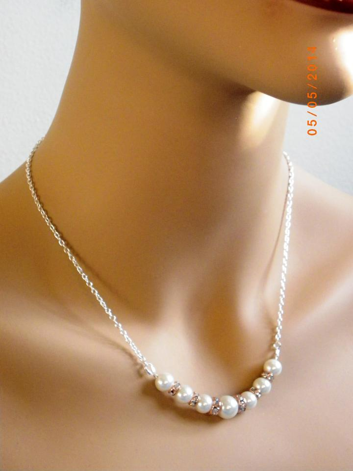Ivory Pearl Set Necklace And Earrings Bridal Jewelry Rose