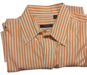 Burberry Tags London Burb Stripes Sale Button Down Shirt Orange