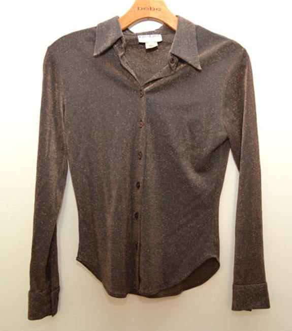 Bebe Moda Shimmer Club Sparkle Night Out Party Button Down Shirt Brown/Gold
