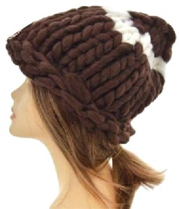 Other Finland Style Lovely and Warm Chic Chunky Big Yarn Knitted Brown Beanie Winter Cap Hat