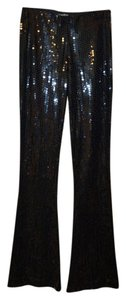 bebe Sequined Sexy Bootcut Boot Cut Pants Black