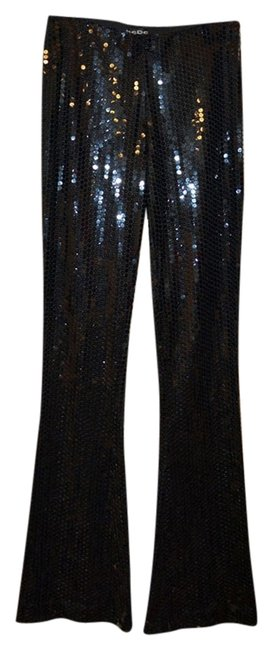 bebe Sequined Sexy Cocktail Party Boot Cut Pants Black