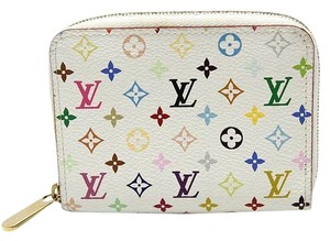 Louis Vuitton Authentic Louis Vuitton Multicolore Monogram White Zippy Coin Purse with Raison Interior