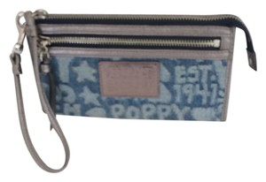 Coach POPPY DENIM WORD BLOCK WRISTLET WALLET