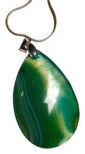 New Green Agate Teardrop Gemstone Pendant Large 925 Silver J1543