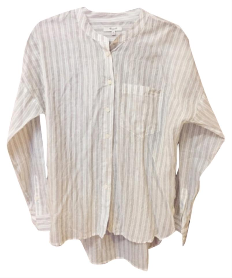 ce4847cec1b81 Madewell White Grey Pinstripe Button-down Top Size 8 (M) - Tradesy