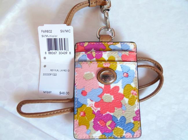 Item - Multi Color Floral Box W Peyton Coated Canvas Leather Lanyard Badge Id Card Case Holder 69802 W/ Gift Necklace