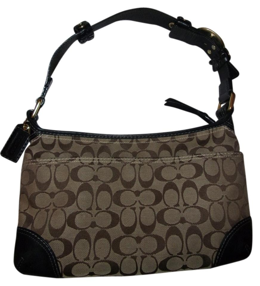 cc71bf06 Coach Signature Zip Bleeker Style #11431 Khaki/Brown/Black Jacquard Weather  Resistant Canvas Fabric Hobo Bag 70% off retail