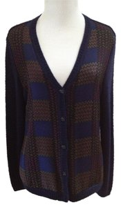 Bill Blass Plaid Soft Wool Blend Silk Blend Cardigan