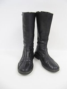 Sigerson Morrison Leather Mid Calf Buckle Zipper Black Boots