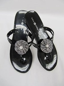 Lindsay Phillips Jelly Flip Flops Black Flats
