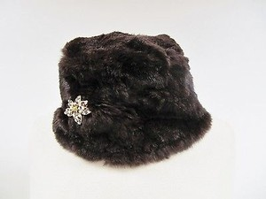 Womens Lord Taylor Brown Rabbit Fur Cloche Winter Hat