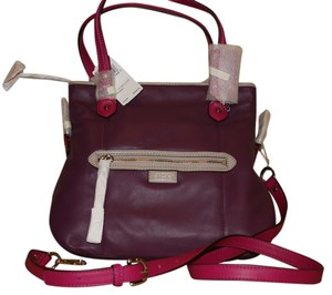 Coach Leather Chic Classic Holiday Tote in Purple / Pink
