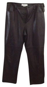 Saks Fifth Avenue Soft Leather Real Clothes 12p Straight Pants BLACK