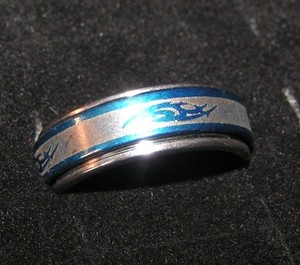 Stainless Steel Blue Etched Spinning Ring Free Shipping