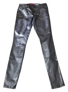 Alice + Olivia Shine Sheen Silver Black Shimmer And Going Out Clubbing Party Dance Skinny Pants Metallic Gray