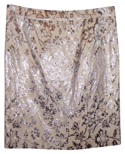 Ann Taylor LOFT Metallic Pewter Party Skirt Silver