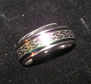 Multi Colored Etched Spinner Ring Free Shipping