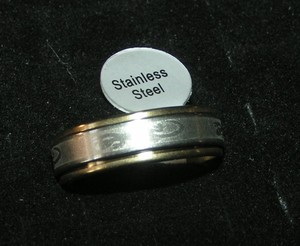 Two Tone Stainless Steel Etched Spin Ring Free Shipping