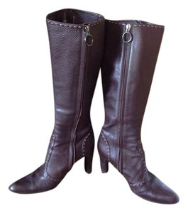 Fendi Italy Milano Handmade Hand Stiched Details Tall Italian Size 37 Pre-loved CHOCOLATE BROWN Boots