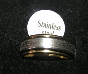 Two Tone Stainless Steel Etched Ring Free Shipping