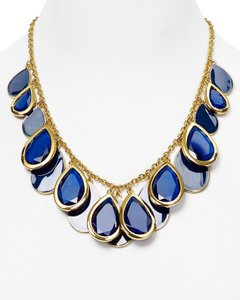 Kate Spade RARE! Kate Spade Petal Pusher Necklace NWT Fabulous Faceted Blue Cascading Teardrops! Amazing Hand-Craftsmanship!