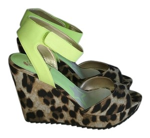 Sam Edelman Neon yellow, leopard Wedges