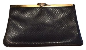 Vintage Snake Embossed Leather Clutch Navy Clutch
