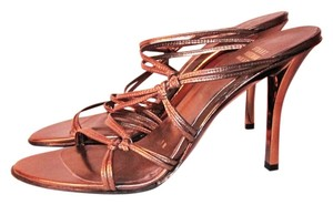 Stuart Weitzman Metallic Bronze Metallic Stiletto Mules Gold Sandals