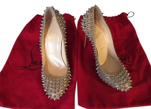 Christian Louboutin Spikes Studded Studs Silver Corde Nude Pumps