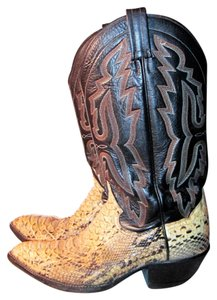 Panhandle Slim Snakeskin Cowgirl Cowboy Leather Vintage Python Western Riding Party Beige & Brown Boots
