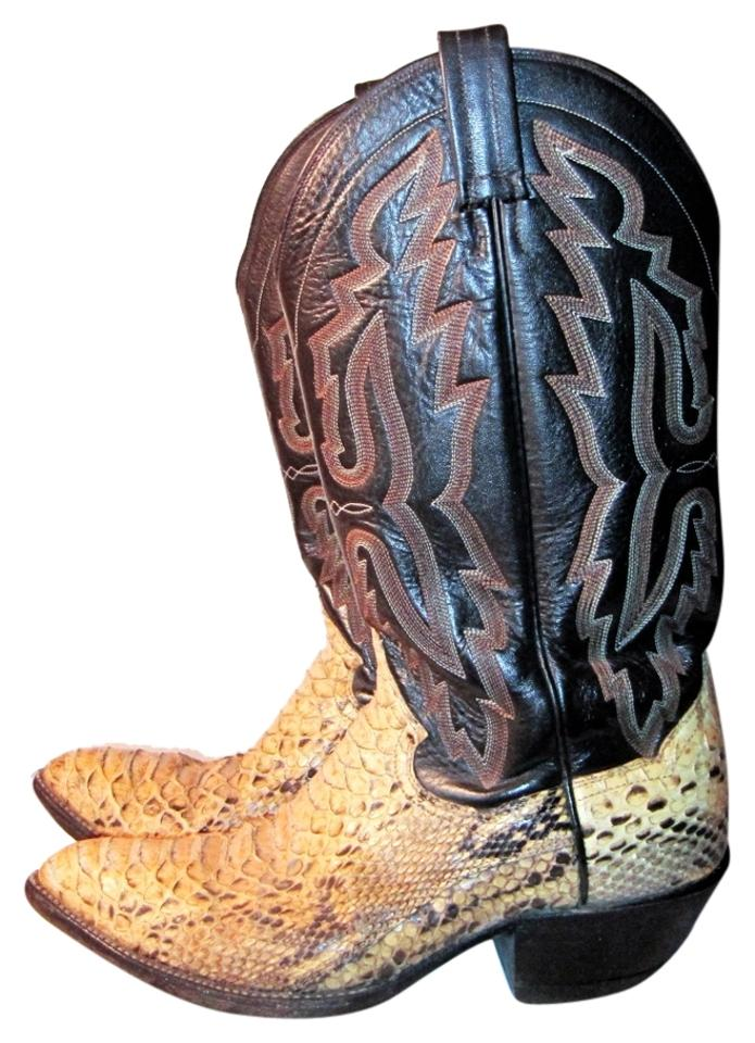98b6af8b206 Panhandle Slim Beige & Brown Python Leather Cowboy Boots/Booties Size US 9  Wide (C, D) 83% off retail