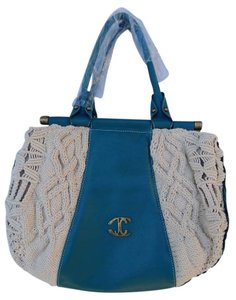 Just Cavalli Satchel Teal Crochet Hobo Bag