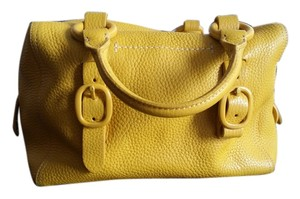 DKNY Buckle Silver Leather Tote in Yellow