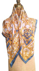 Other Vtg. Blue & Gold Baroque Filigree Print Silk Twill Scarf- A Versace Style Scarf