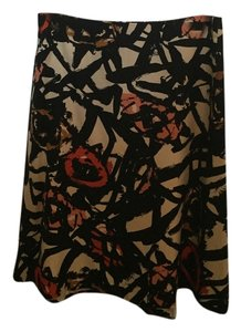 J.Crew Skirt Multi-black, coral and red