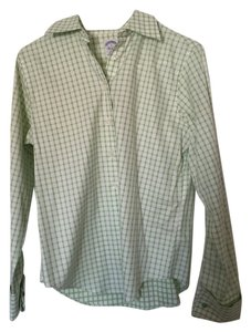 Brooks Brothers Button Down Shirt Green and white