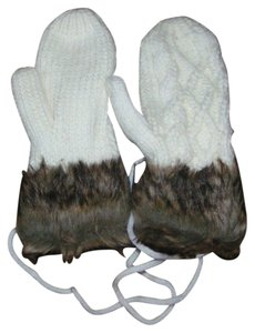 Double Thick Cable Knit Mittens with Faux Fur Cuff Free Shipping