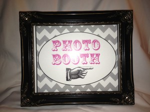 Black Photo Booth Sign with Frame & Stick Props Other