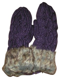 Other Extra Thick Cable Knit Mittens with Faux Fur Cuff Free Shipping