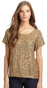 MICHAEL Michael Kors Sequin Embellished Top Gold