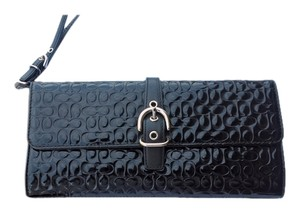 Coach Embossed Patent Leather Black Clutch